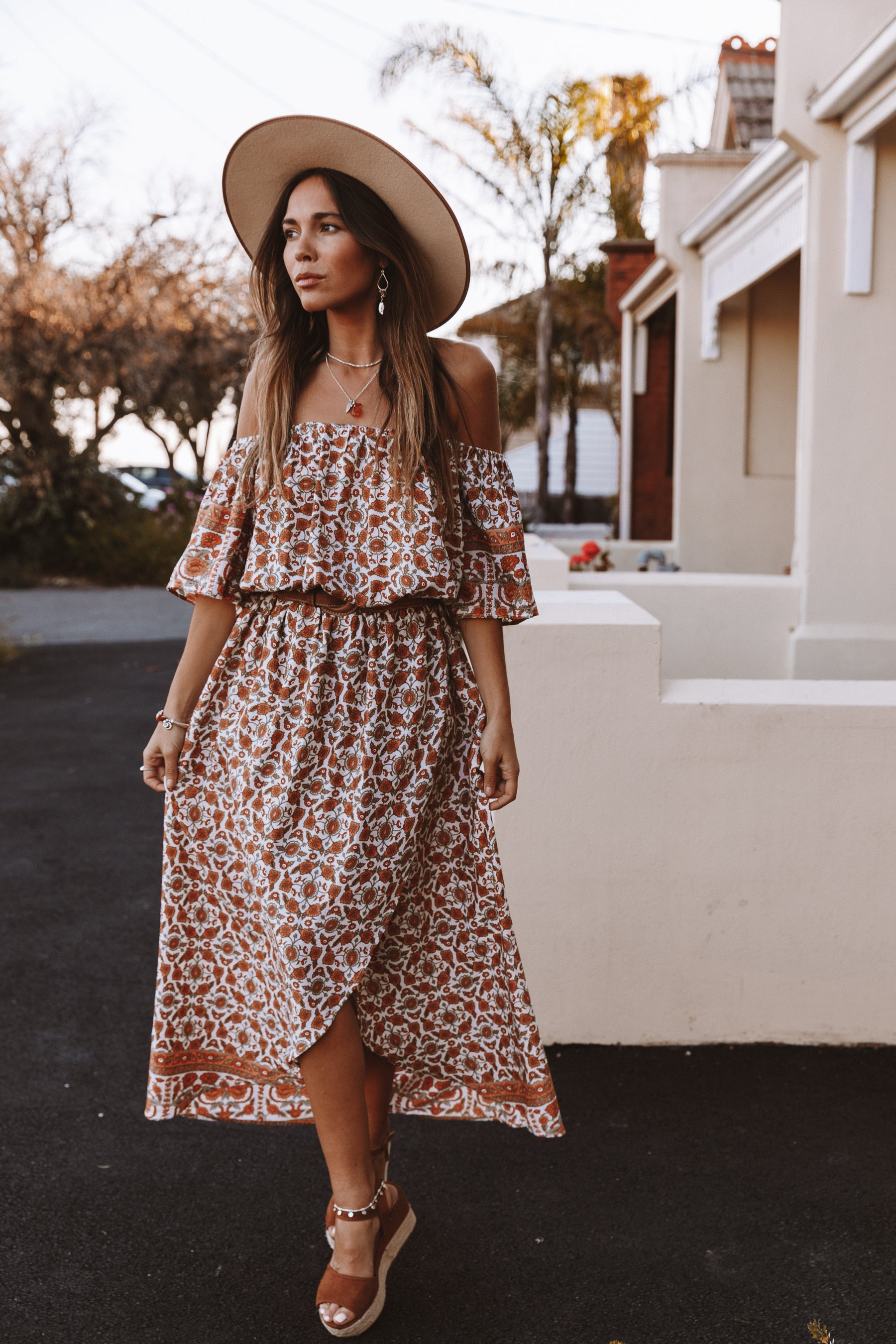 INDIAN SUMMER OFF THE SHOULDER DRESS | NATURAL