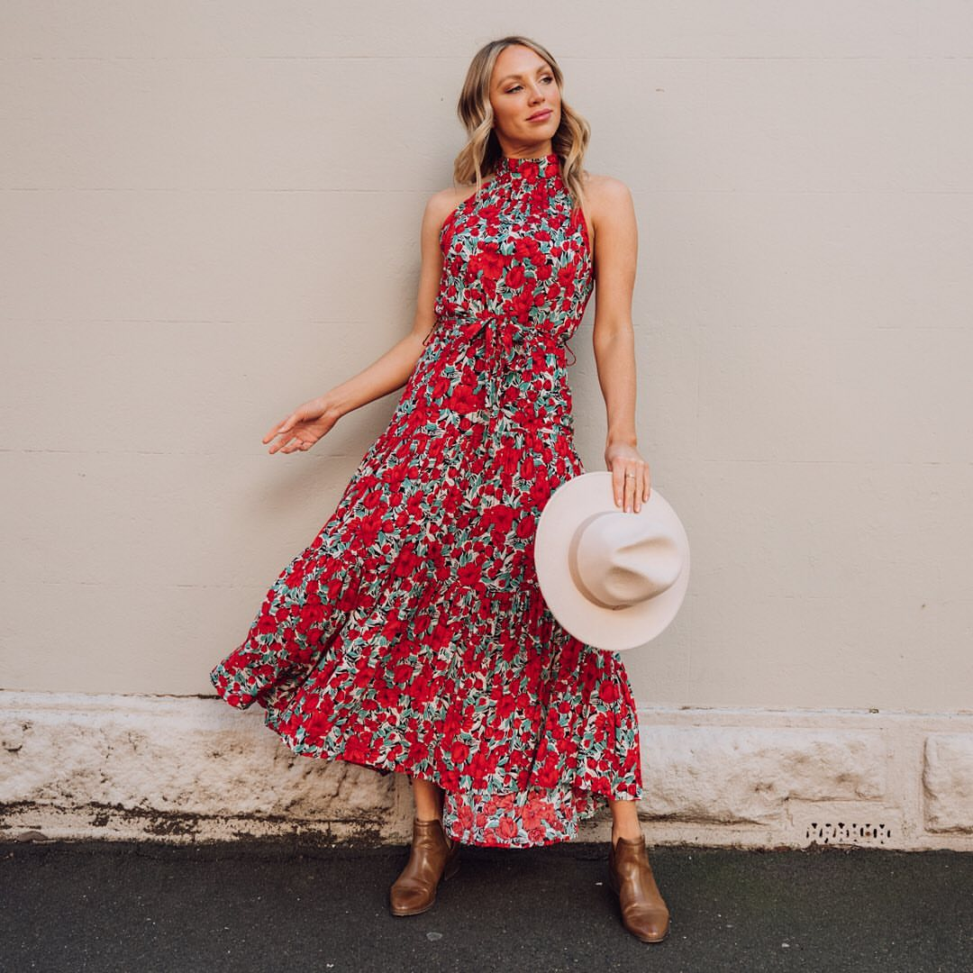 EVANGELINE POPPY MAXI DRESS | RED PRINT