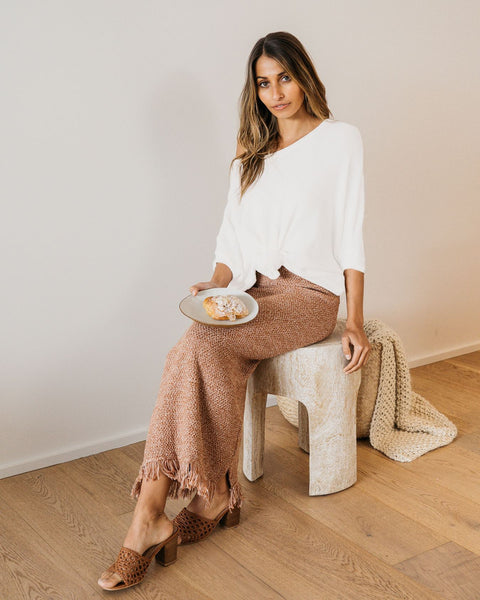 LIVIA KNIT SKIRT | TAN