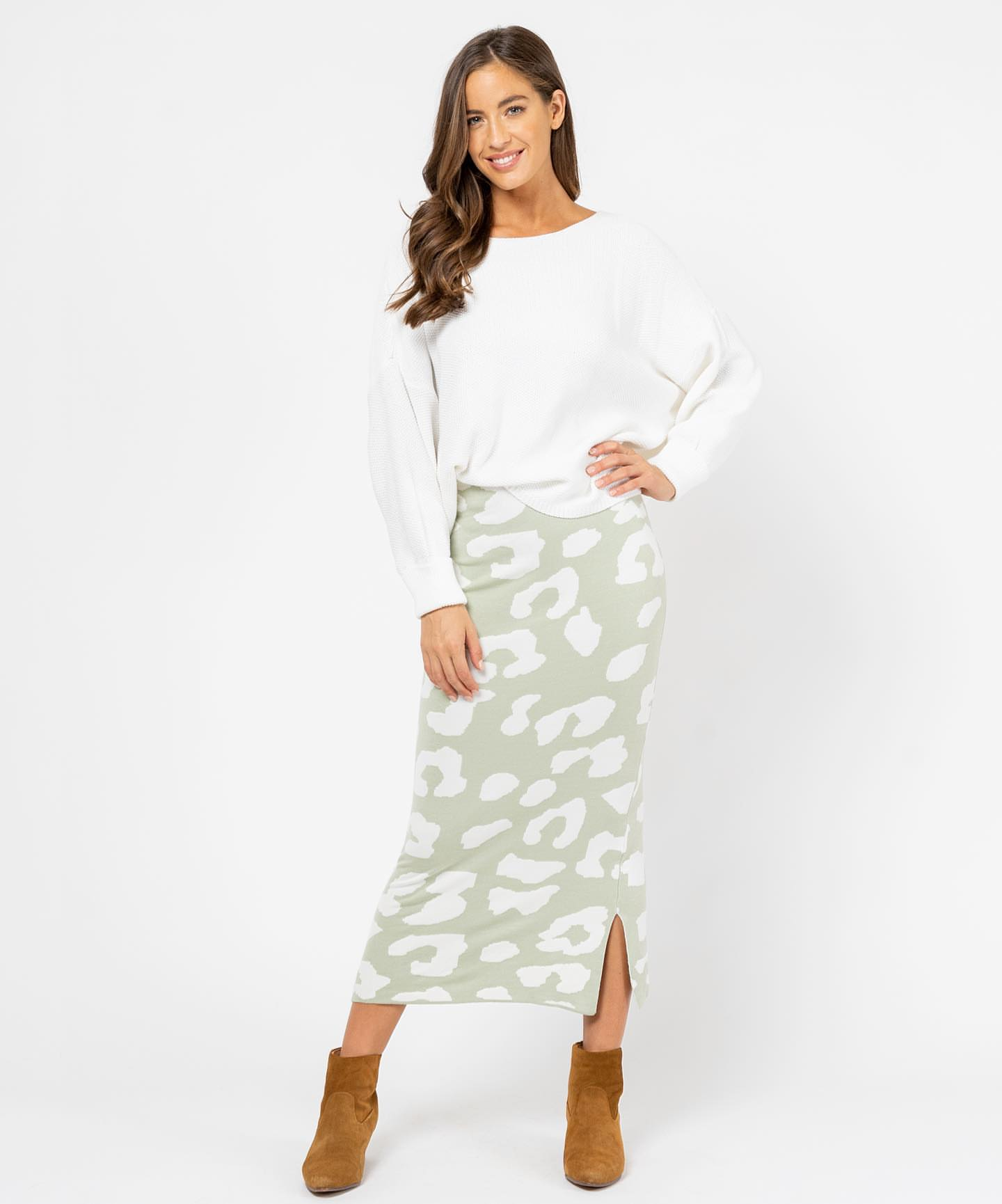 JADA KNIT SKIRT | GREEN LEOPARD - SALE