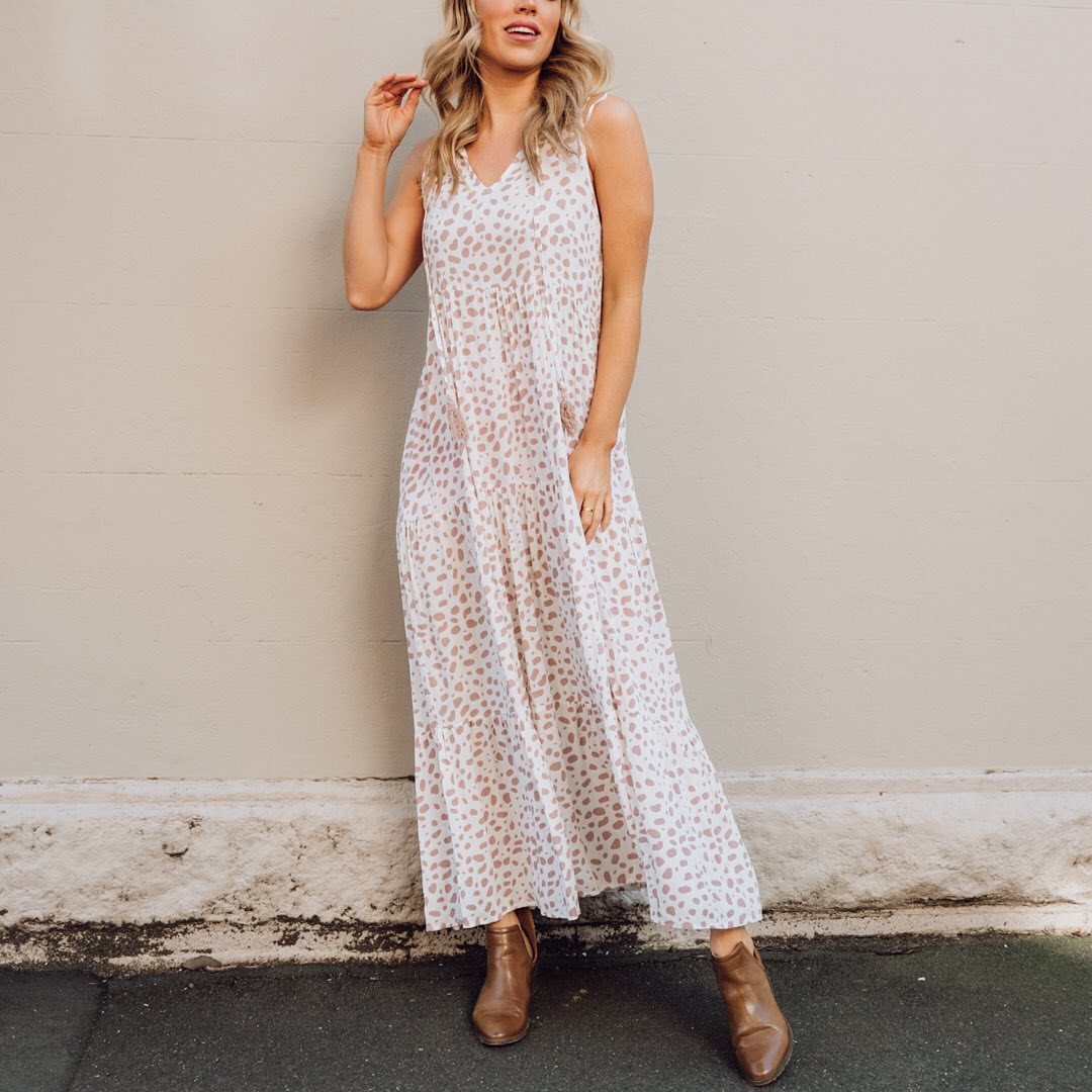 ZOE MAXI DRESS | TAUPE PRINT