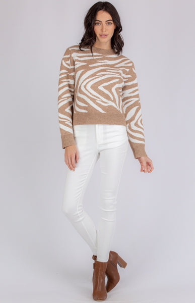 DEMI ZEBRA KNIT | CAMEL - SALE