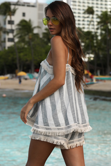 Sunset Swing Top | Blue Stripe
