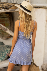 SERENA WRAP DRESS | ICY BLUE SPOTS