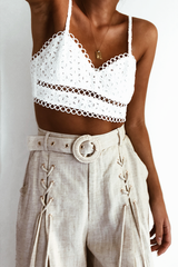 BROIDERY BRALETTE TOP | WHITE