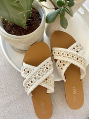 ANTIGUA WOVEN SLIDES | WHITE