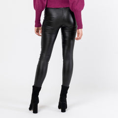 SAMANTHA COATED PANTS | BLACK