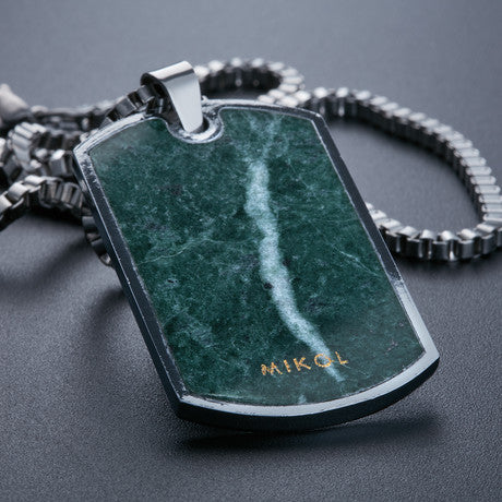 Emerald Green Dog Tag Necklace