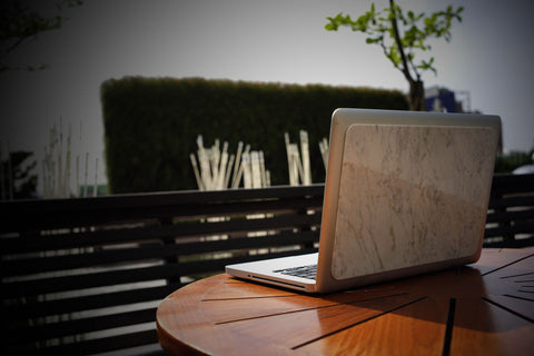 Carrara marble macbook cover