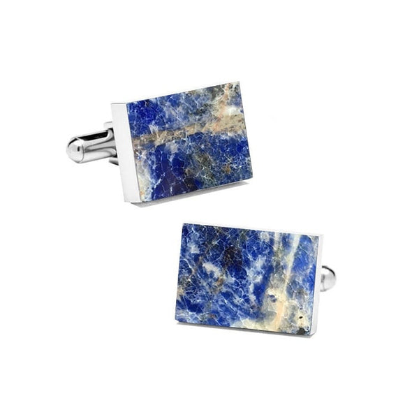 Laguna Blue (Rectangular) Marble Cuff Links - MIKOL