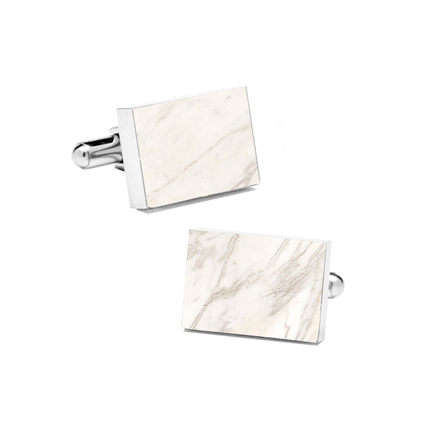 Carrara White (Rectangular) Marble Cuff Links - MIKOL