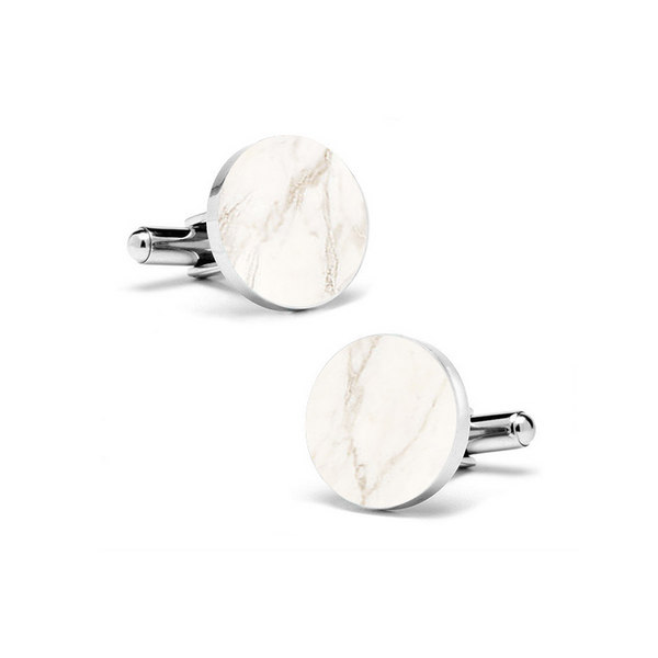 Carrara White (Round) Marble Cuff Links - MIKOL