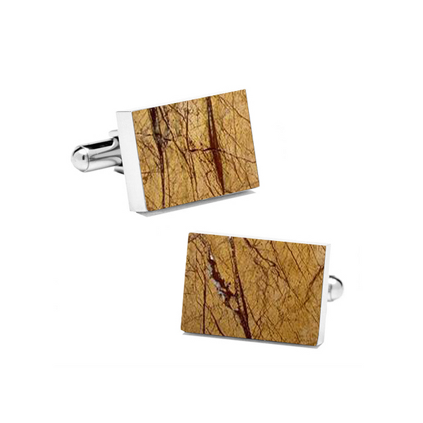 Desert Sand (Rectangular) Marble Cuff Links - MIKOL