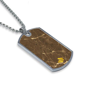 Emperador Dark Marble Dog Tag Necklace