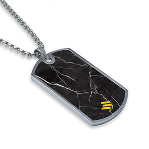 Nero Marquina Marble Dog Tag Necklace