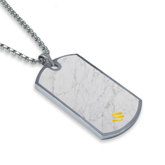Carrara White Marble Dog Tag Necklace