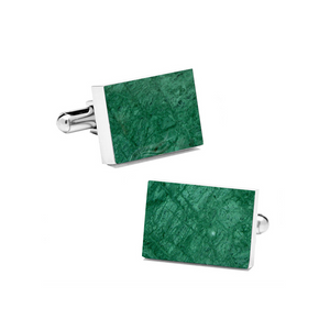 Emerald Green (Rectangular) Marble Cuff Links - MIKOL