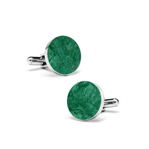 Emerald Green (Round) Marble Cuff Links - MIKOL