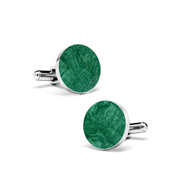 Emerald Green Marble Round Cufflinks