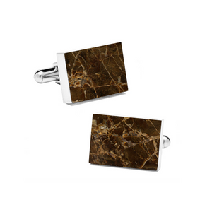 Emperador (Rectangular) Marble Cuff Links - MIKOL