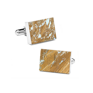 Galaxy Gold (Rectangular) Marble Cuff Links - MIKOL