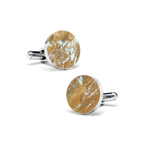 Galaxy Gold (Round) Marble Cuff Links - MIKOL