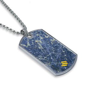 Laguna Blue Marble Dog Tag Necklace