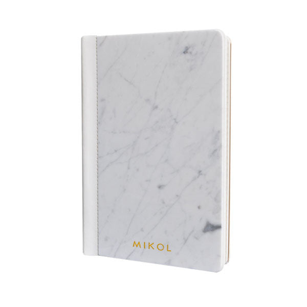 Leather Bounded Carrara White Marble Notebook - MIKOL