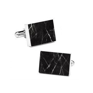 Nero Marquina (Rectangular) Marble Cuff Links - MIKOL