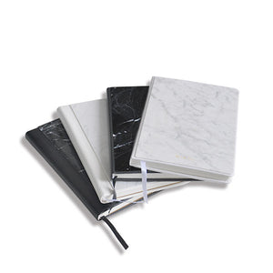 Leather Bounded Nero Marquina Marble Notebook - MIKOL
