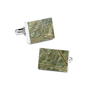 Rainforest Green (Rectangular) Marble Cuff Links - MIKOL