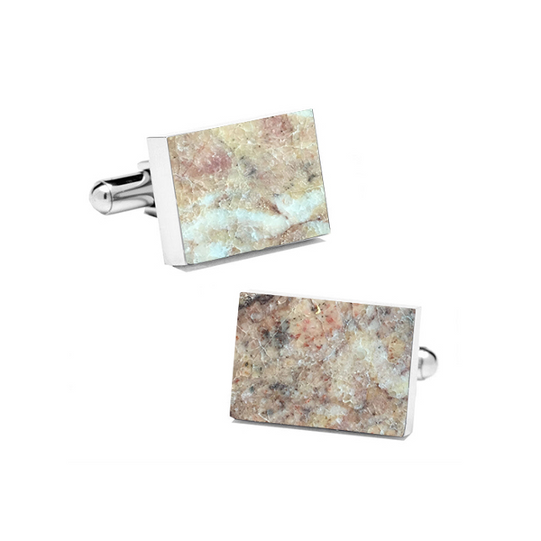Rosso Verona (Rectangular) Marble Cuff Links - MIKOL