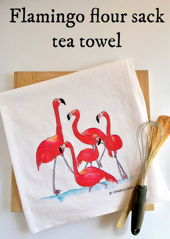 Flamingo flour sack tea towel