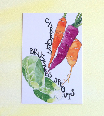 Watercolor Carrots and Brussel Sprouts Postcard
