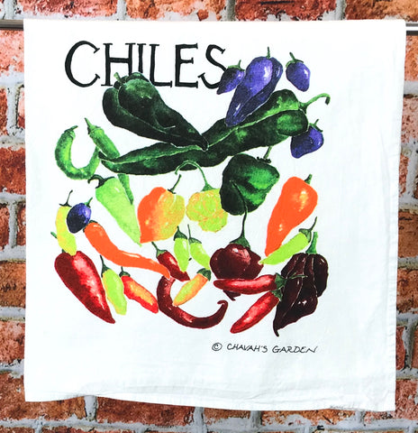 Chiles Tea Towel, colorful dish towel