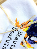 Crabs Tea Towel, Bright Nautical Dish Cloth