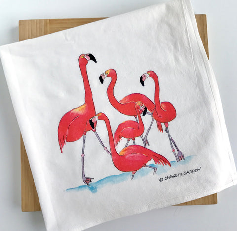 Flamingo kitchen towel, flour sack tea towel