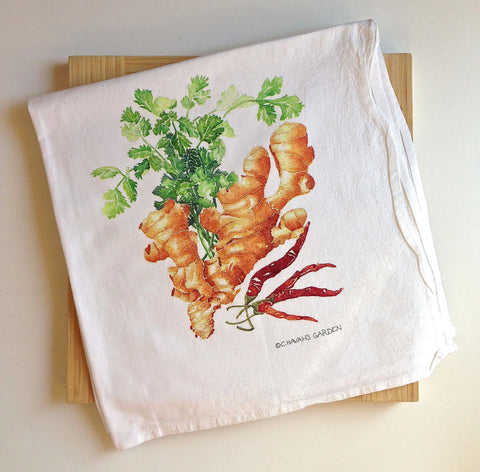 Deluxe Ginger, Cilantro, and Red Chile Tea Towel