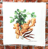 Ginger, Cilantro, Red Chile Tea Towel, Herb and Spice Kitchen Towel