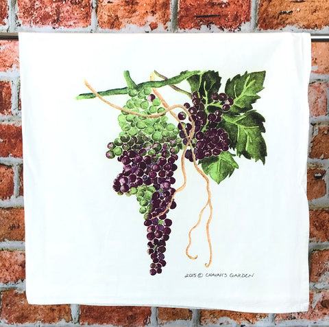 "Grapes Flour Sack Tea Towel, ""Shane's Grapes,"" Wine-lover and Foodie Gift"