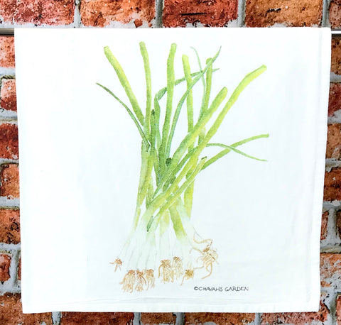 Green Onion Tea Towel,  Watercolor Spring Onion Dish Towel