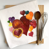 Hearts Tea Towel, Flour Sack Kitchen Towels