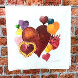 Hearts Tea Towel, Flour Sack Kitchen Towel