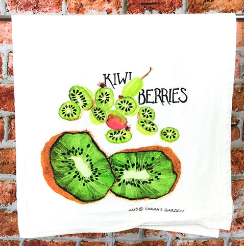 Kiwi and Kiwi Berry Tea Towel, Tropical Fruit Dish Towel