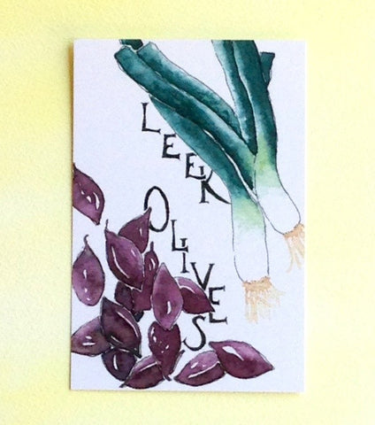 Watercolor Leek and Olives Postcard