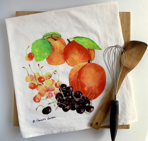 Peaches Tea Towel, Flour sack dish towel