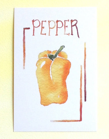 Watercolor pepper postcard