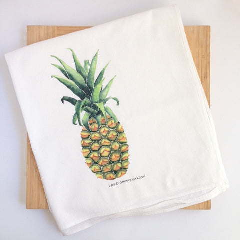 Pineapple tea towel, colorful tropical fruit dish cloth