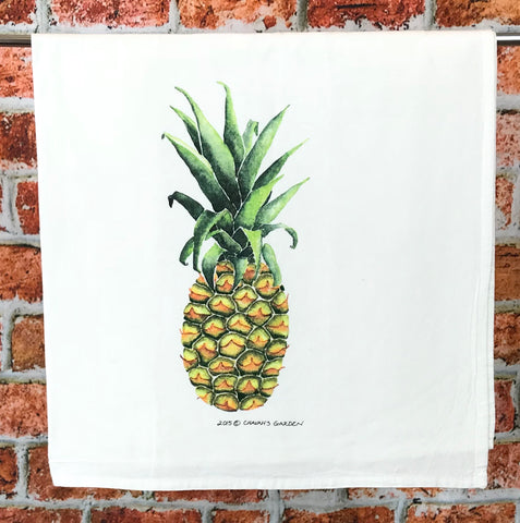 Watercolor Pineapple tea towel, colorful tropical fruit dish cloth