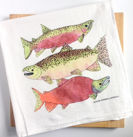 Salmon Tea Towel, Flour sack dish towel